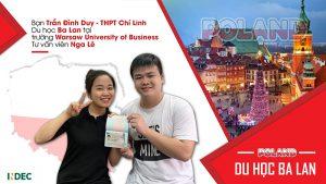 húc mừng Trần Đình Duy – THPT Chí Linh (Hải Dương) đã có được visa du học Ba Lan