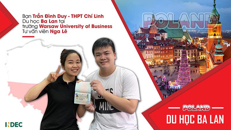 Chúc mừng Trần Đình Duy – THPT Chí Linh (Hải Dương) đã có được visa du học Ba Lan